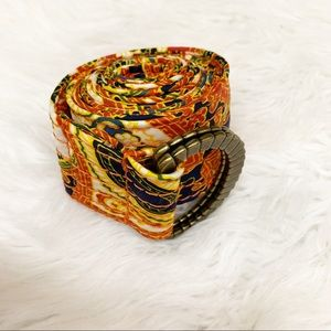 J. Crew Paisley Print D Ring Belt 100% Silk Orange